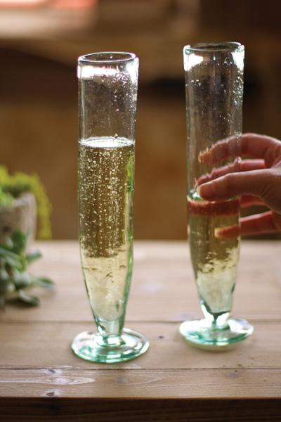 Set Of 6 Tall Recycled Champagne Flutes