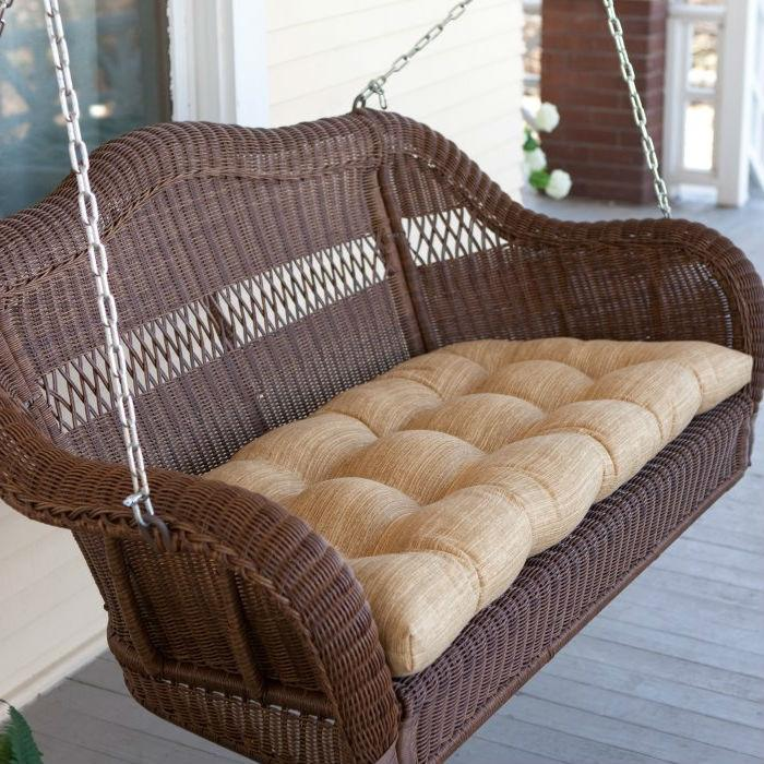 Honey Resin Wicker Porch Swing With Comfort Spring & Hanging Hooks