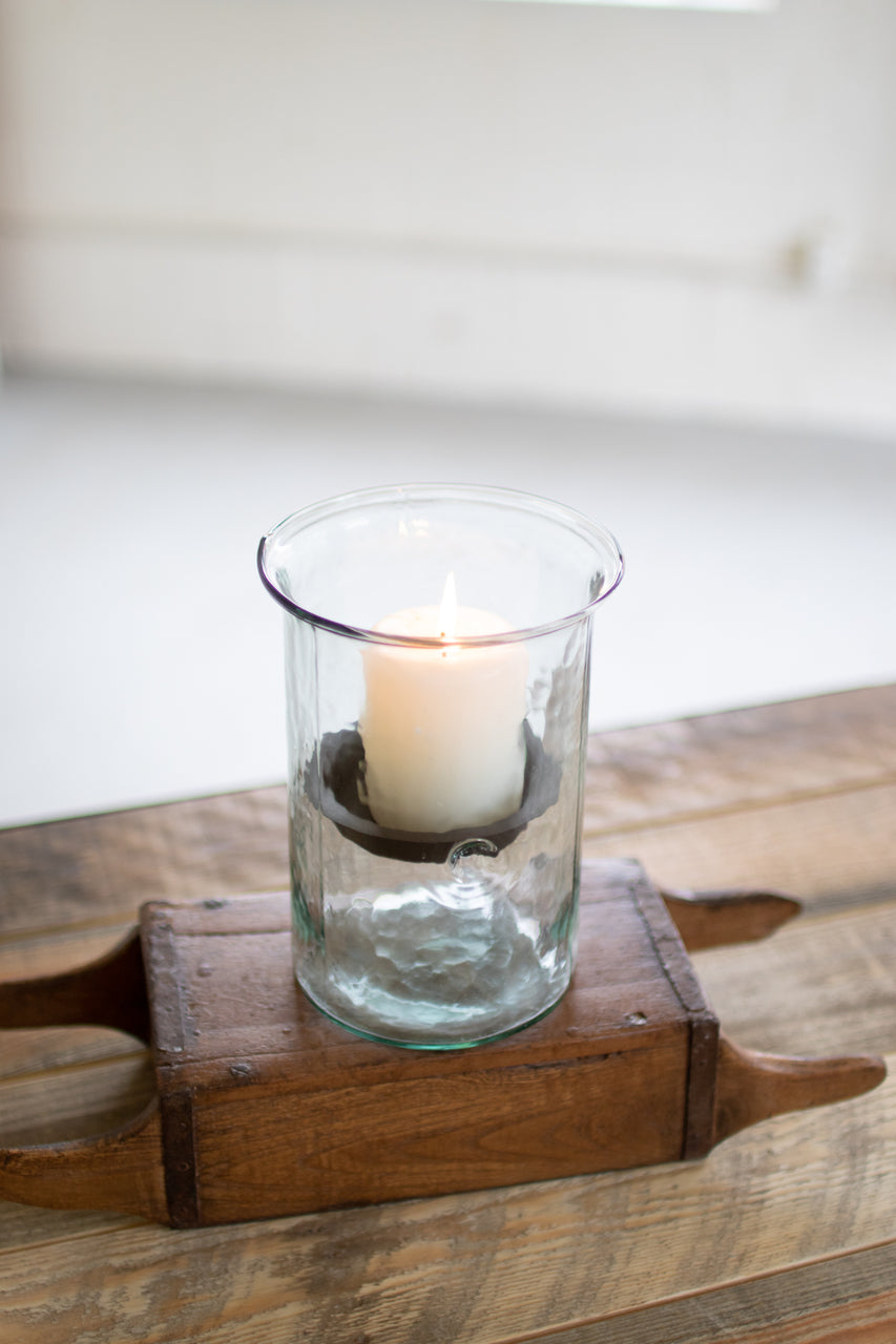 Mini Glass Candle Cylinders With Rustic Insert - Small