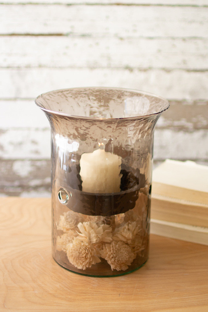 Original Smoked Glass Candle Cylinder With Rustic Inserts  -  Small