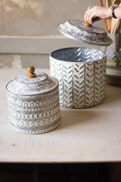 Set Of 2 Pressed Tin Canisters