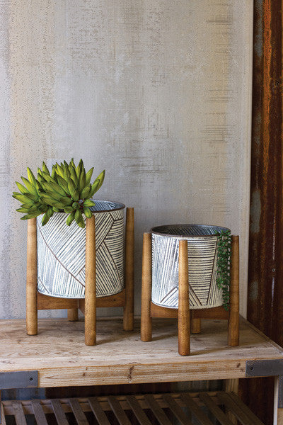 Set Of 2 Pressed Tin Planters With Wooden Bases