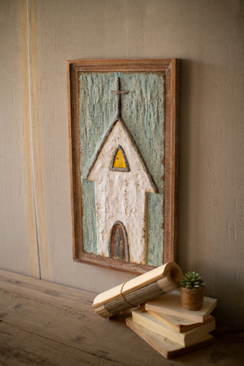 Wood Framed Painted Metal Church