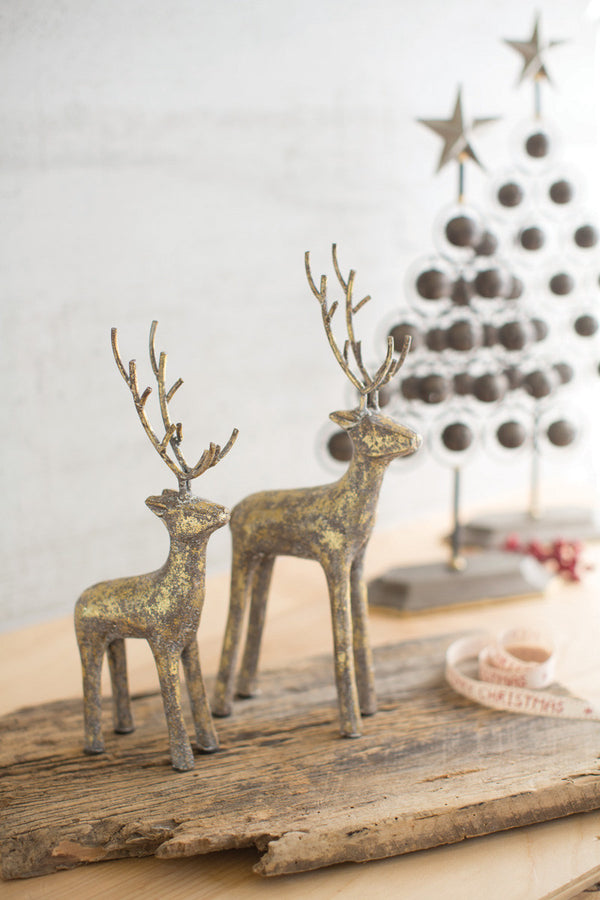 Set of 2 Cast Iron Christmas Deer - Gold