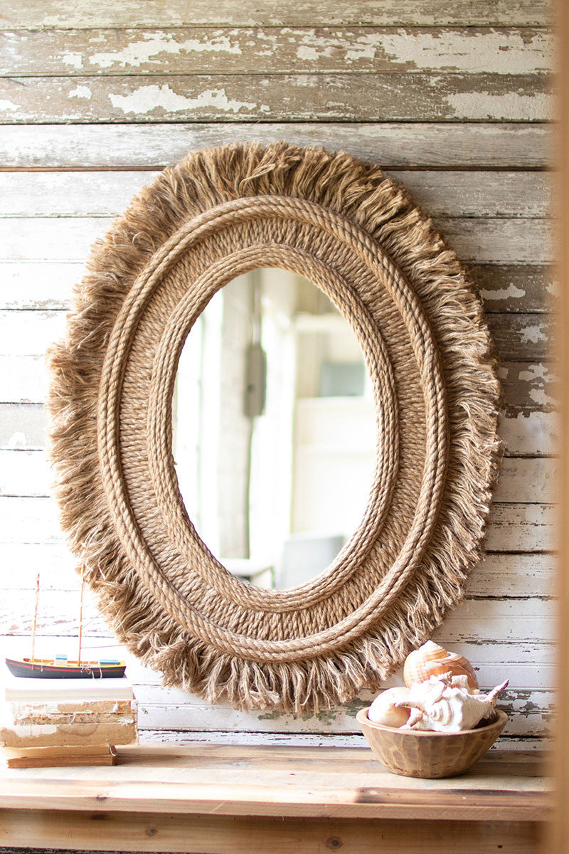 Oval Mirror With Jute Detail