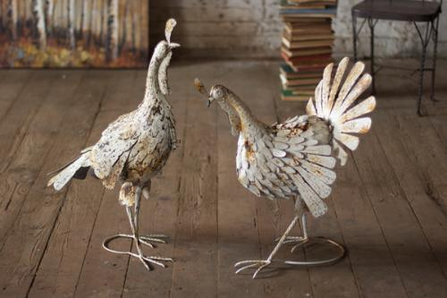 Set Of 2 Antique White Metal Turkeys