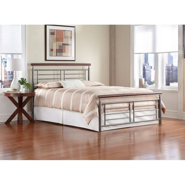 California King Size Contemporary Metal Bed in Silver / Cherry Finish