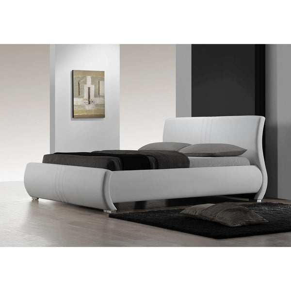 King Size Contemporary White Faux Leather Platform Bed Frame