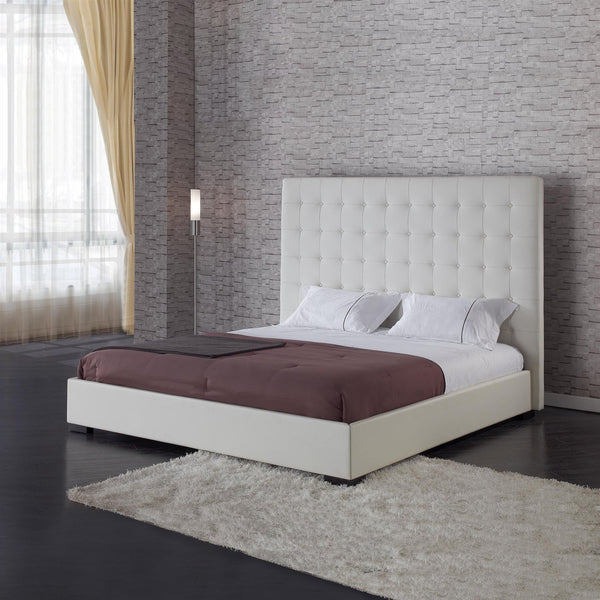 Queen Size White Faux Leather Platform Bed With Button-Tufted Headboard