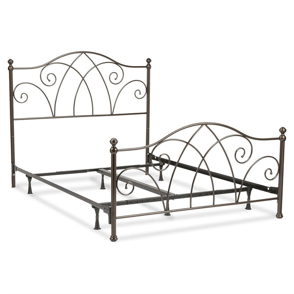 Full Size Metal Bed Frame in Spiral Pattern Headboard & Footboard