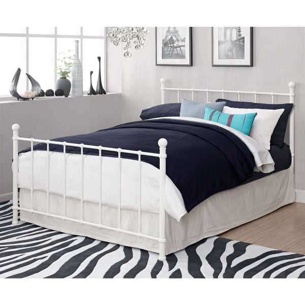 Full Size White Metal Platform Bed Frame