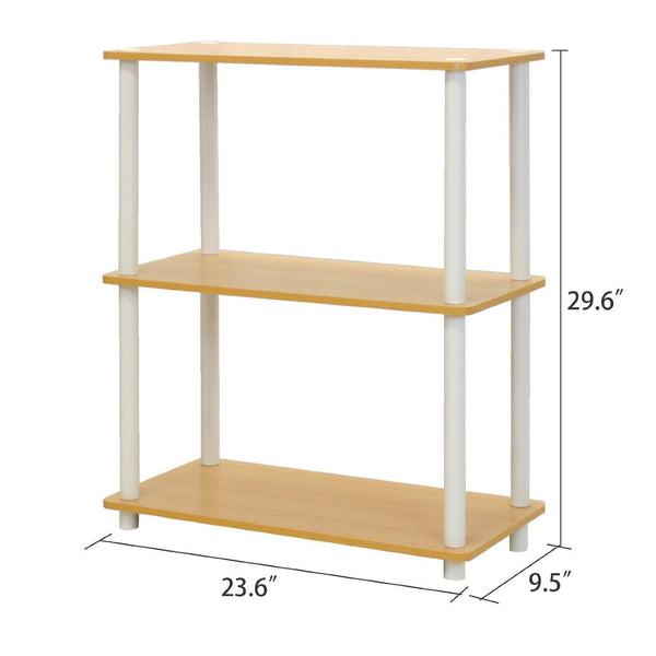 White & Beech Finish 3-Tier Bookcase
