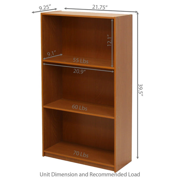Light Cherry Finish 3-Tier Storage Shelves Bookcase