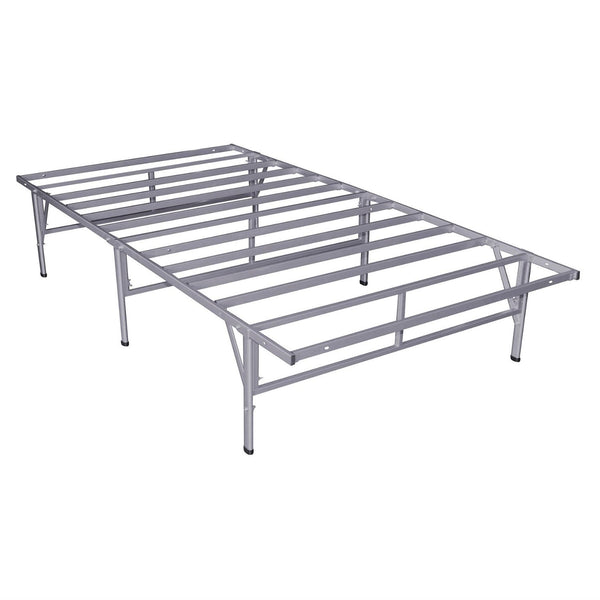 Full Metal Platform Bed Frame In Grey Silver Finish