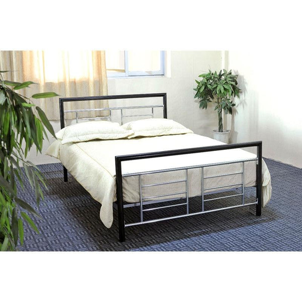 Full Size Black Metal Platform Bed With Headboard & Footboard With Silver Accents