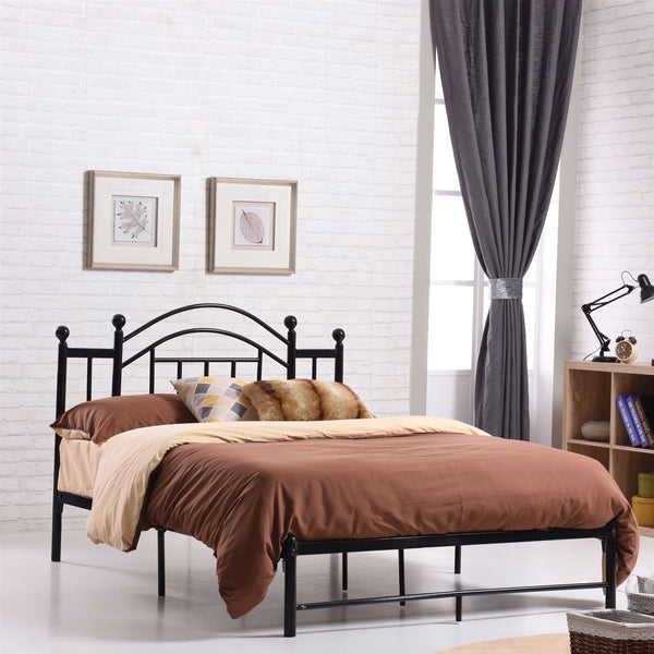 Full Size Black Platform Bed Frame with Metal Slats & Headboard