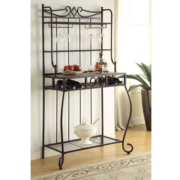 Black Metal Kitchen Bakers Rack with Wine Glass Holders & Bottle Storage