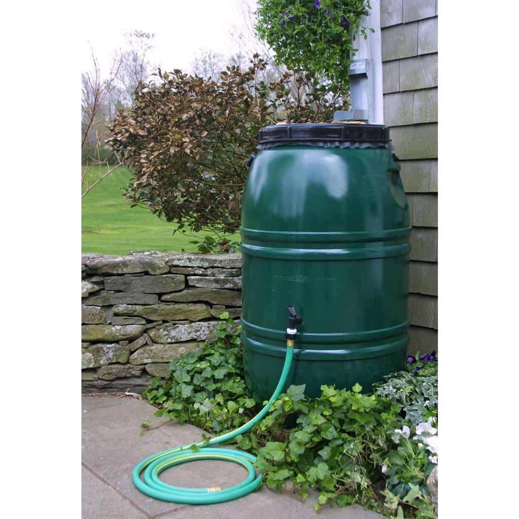60-Gallon High Density Polyethylene Plastic Rain Barrel In Forest Green