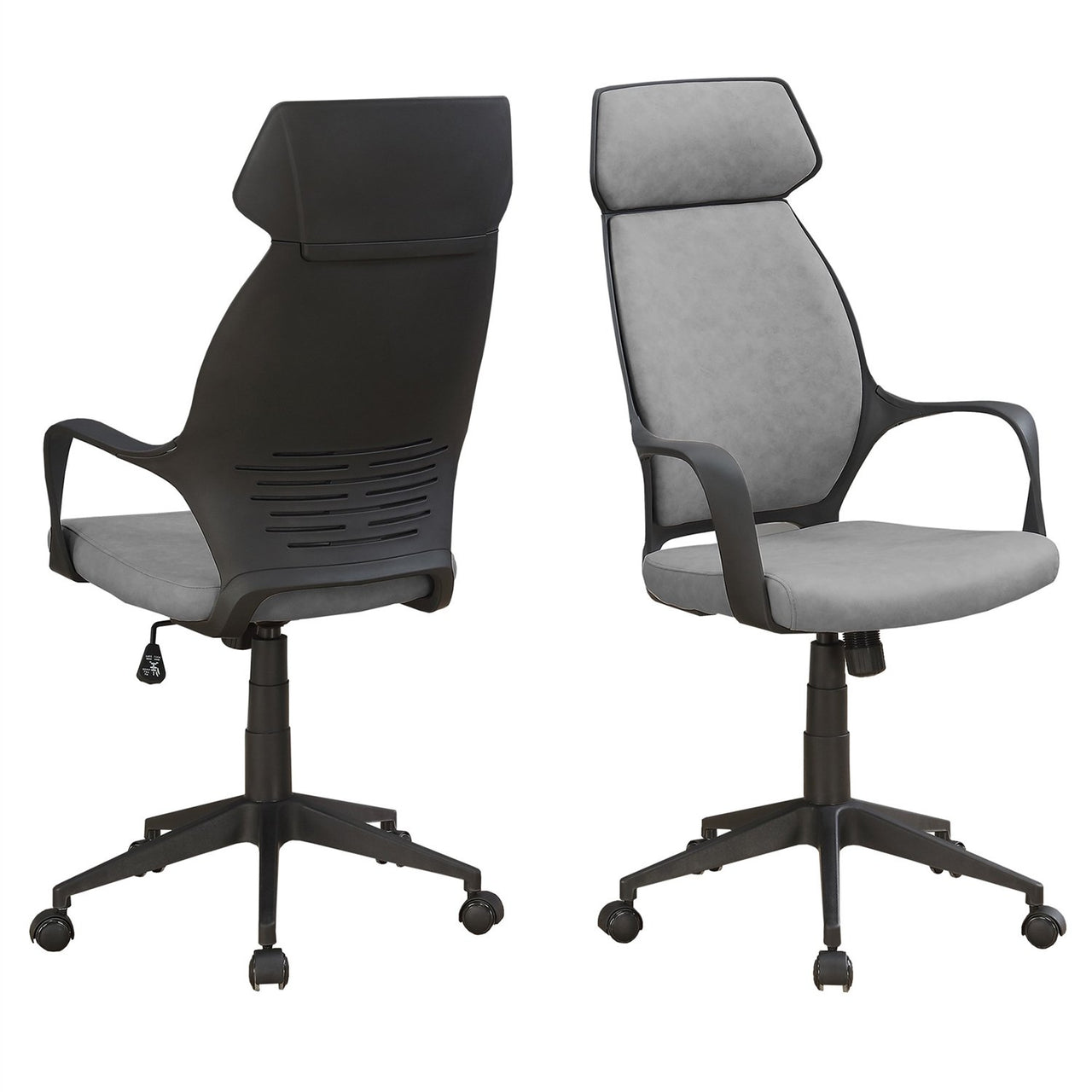Grey Black Ergonomic Adjustable Microfiber High Back Executive Office Chair