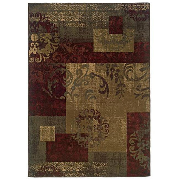 Dark Green Geometric Floral Stylish Area Rug (8'2 x 10')
