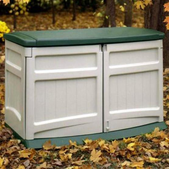 Weather Resistant Outdoor Resin Storage Shed In Tan With Green Lid - 20 Cubic FT Capacity