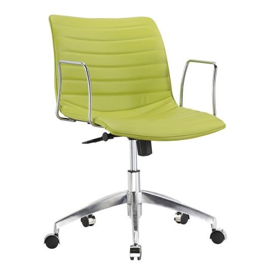 Green Faux Leather Modern Mid-Back Office Chair With Curved 26.7 Inch Wide Seat
