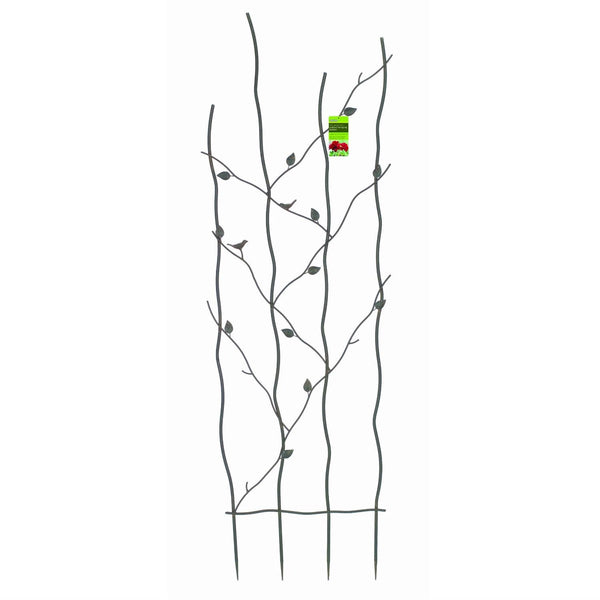 60 Inch High Metal Garden Trellis With Climbing Vine Leaf Design