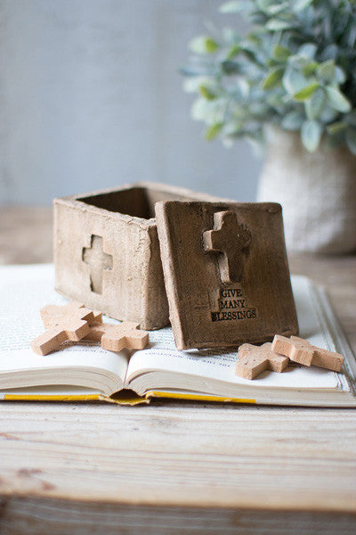 Give Many Blessings Clay Cross Box With 12 Crosses