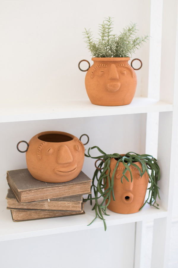 Set of 3 Funky Face Clay Planters