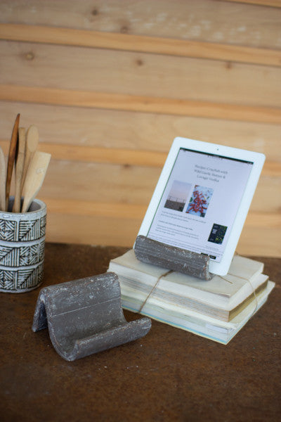 Grey Wash Clay iPad Holders - Set Of 2
