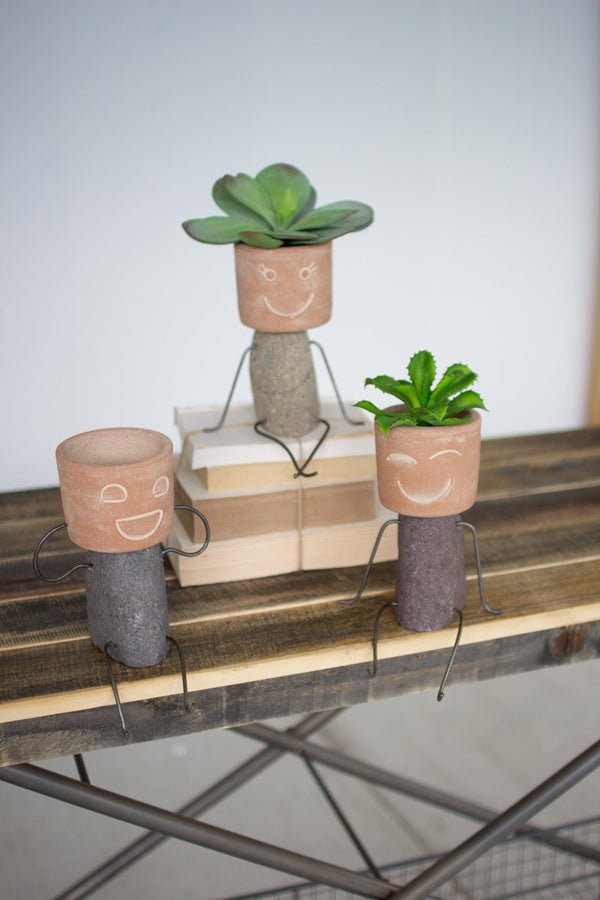 Set Of 3 Clay & River Rock Pot Head Shelf Sitters