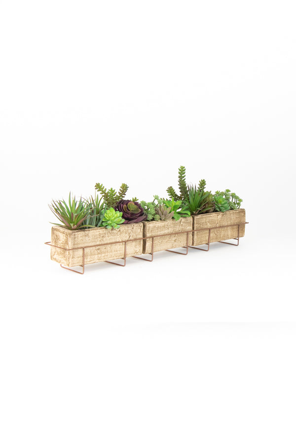 Long Clay Planter With Copper Finish Wire Base
