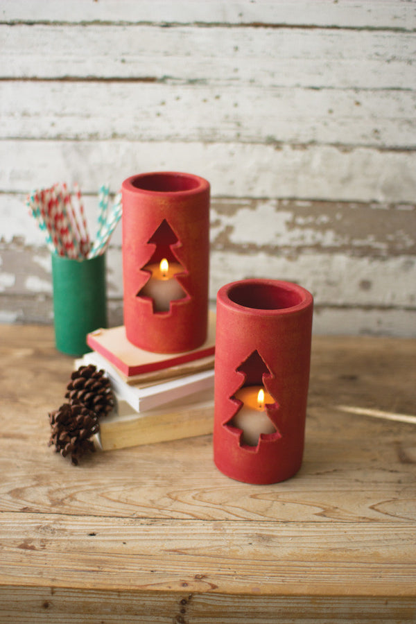 Set of 6 Clay Christmas Tree Luminaries - Red #1