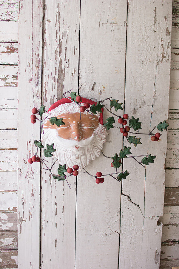Painted Clay Santa Wall Hanging Holly