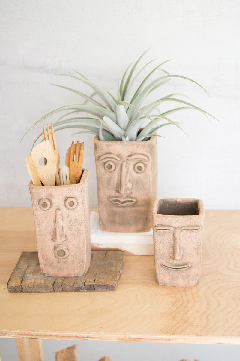Set of 3 Square Clay Face Planters