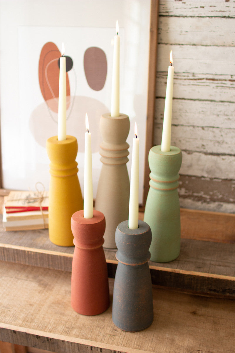 Set Of 5 Colorful Clay Taper Holders