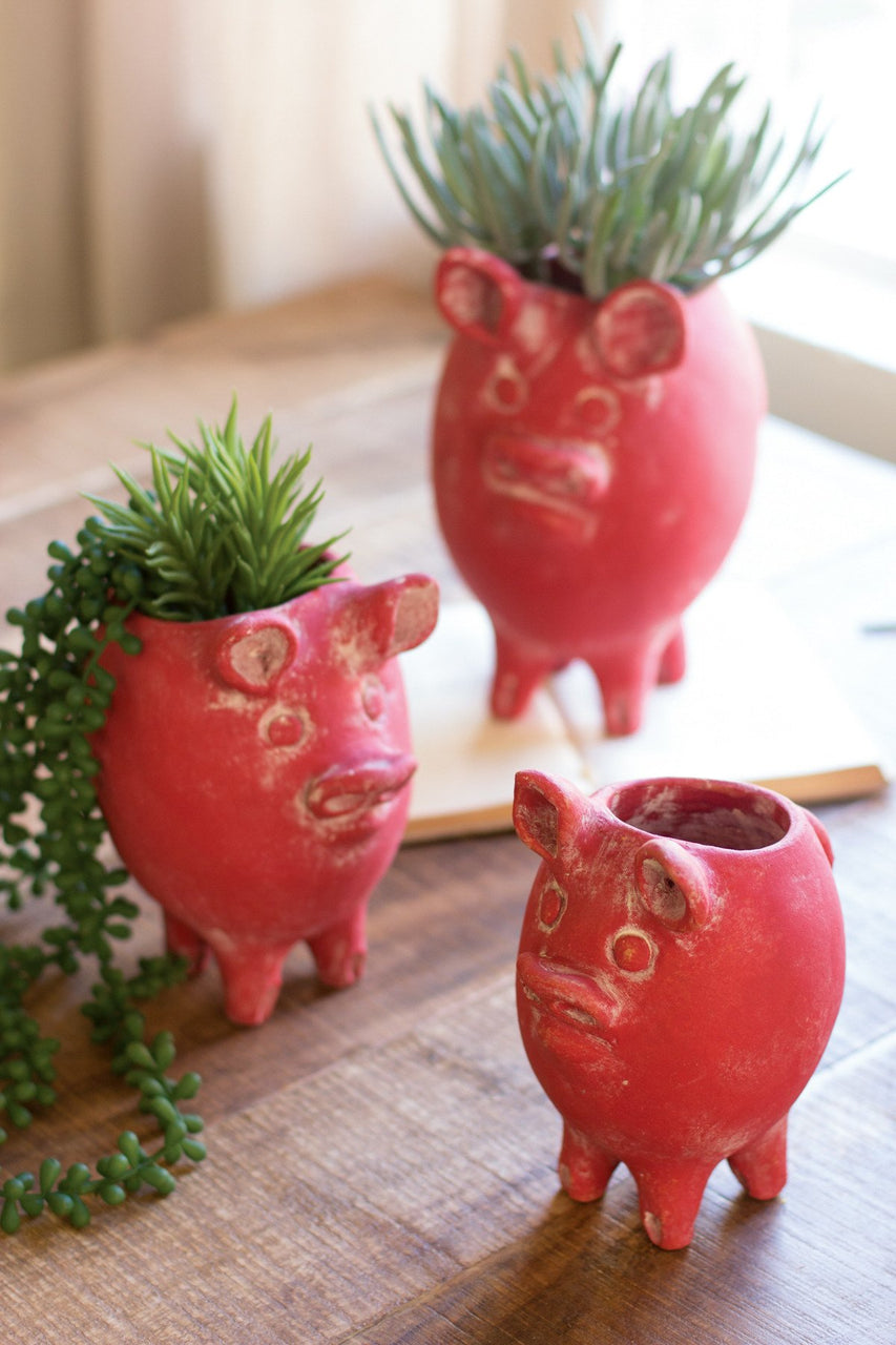 Set Of 3 Red Tall Clay Pig Planters