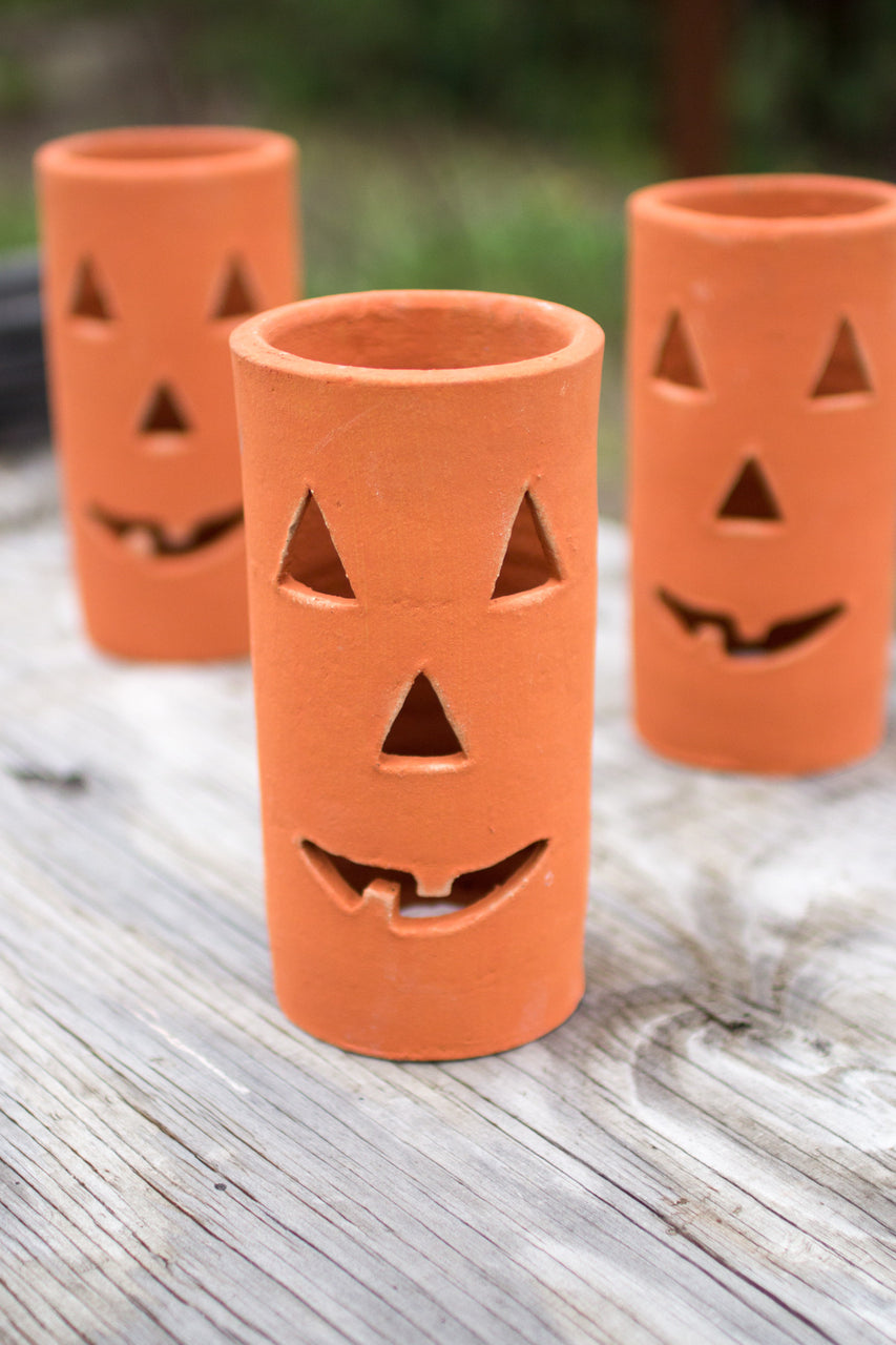 Set of 6 Clay Jack-O-Lanterns