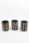 Set Of 3 Black & White Clay Lenca Cylinders