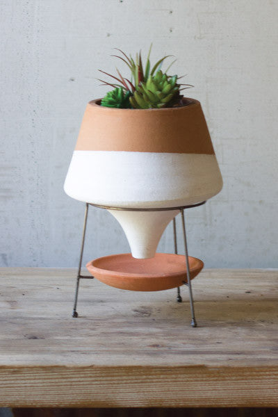 Natural & White Small Terracotta Funnel Planter With Wire Base