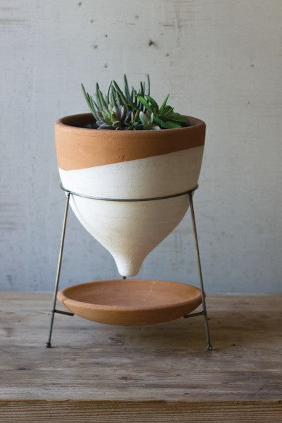 Natural & White Large Terracotta Funnel Planter With Wire Base