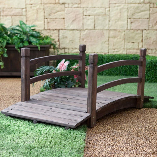 Dark Brown Stain Fir Wood 4-Ft Garden Bridge with Handrails