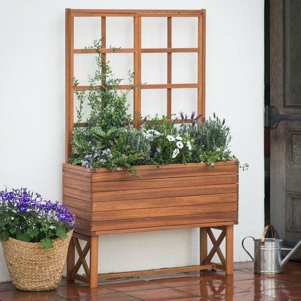 Raised Acacia Wood Planter with Trellis