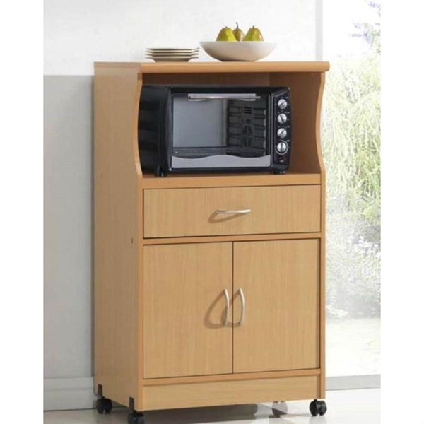 Beech Wood Microwave Cart Kitchen Cabinet with Wheels & Storage Drawer