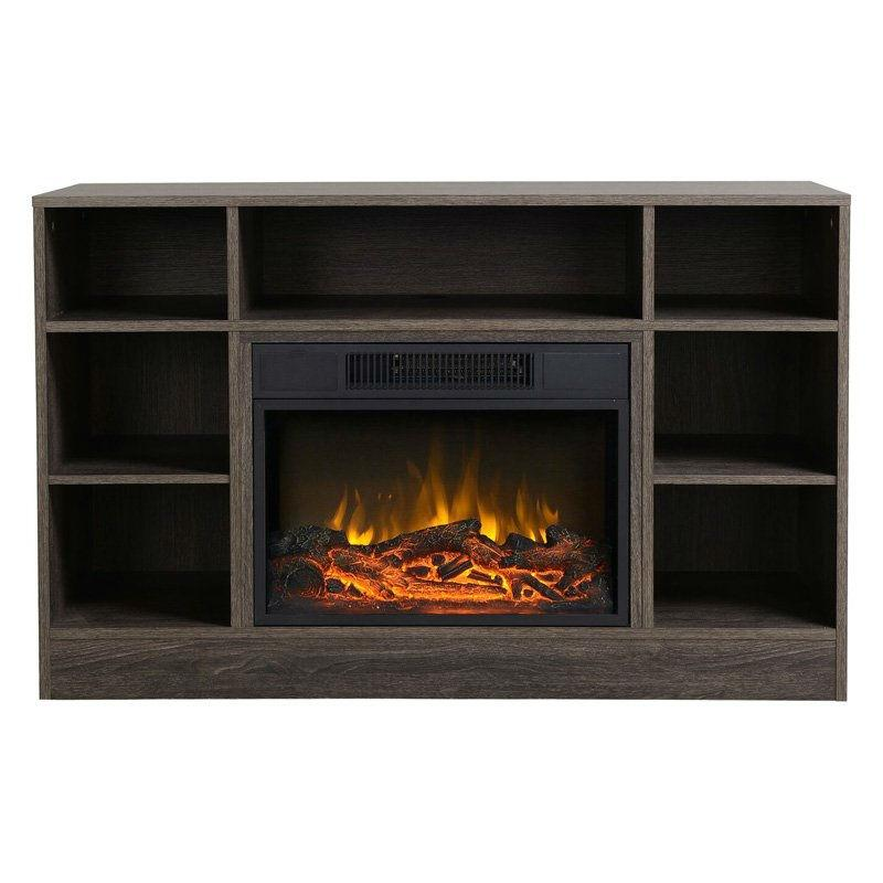 Tall TV Stand Electric Fireplace in Brown Oak Finish