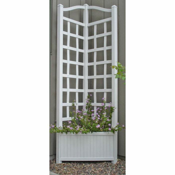 5.5-Foot White Outdoor Vinyl Corner Planter with Trellis