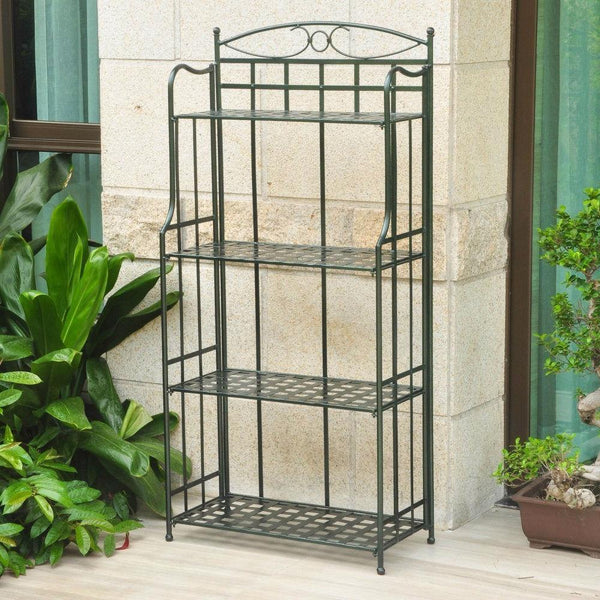 Dark Green Powder Coated Iron Folding Bakers Rack