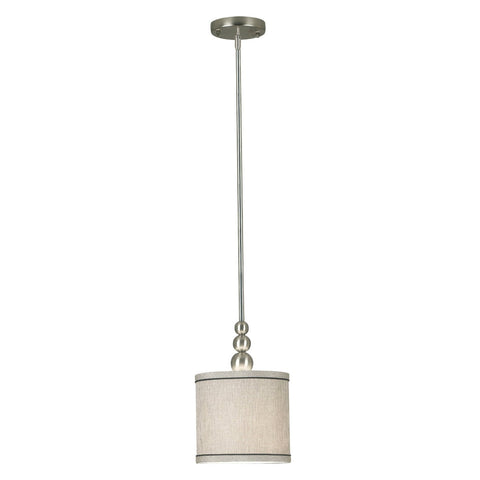 1-Light Mini Pendant In Brushed Steel With Fabric Drum Shade