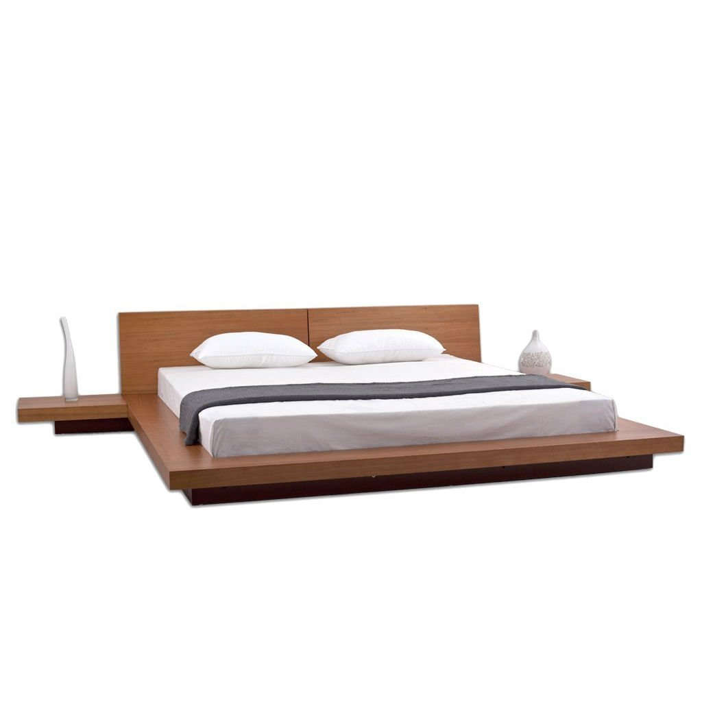 King Modern Japanese Style Platform Bed with Headboard and 2 Nightstands in Oak