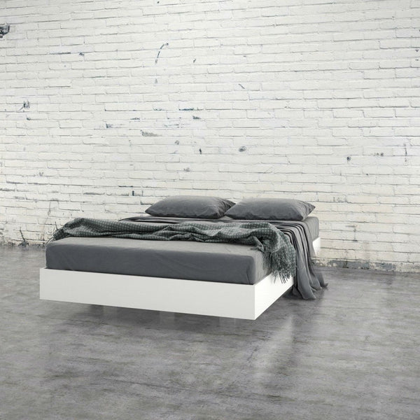 Modern Floating Style White Platform Bed Frame In Full Size